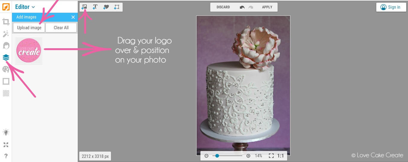 Watermark your cake photo with this quick and easy tutorial by Love Cake Create