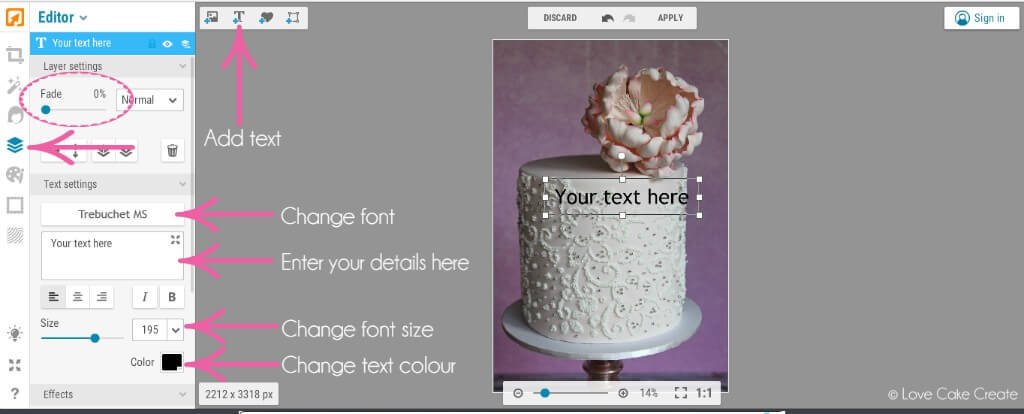 Watermark your cake photo with this quick and easy tutorial - by Love Cake Create