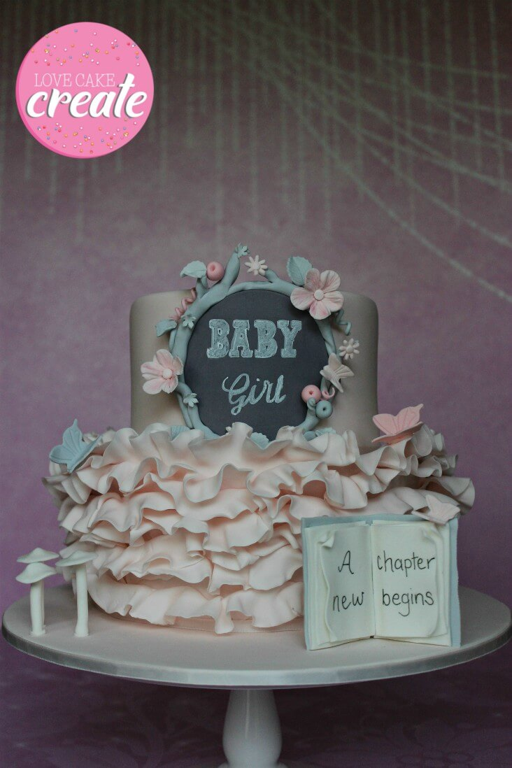 Enchanted Forest Baby Shower Cake - by Love Cake Create.