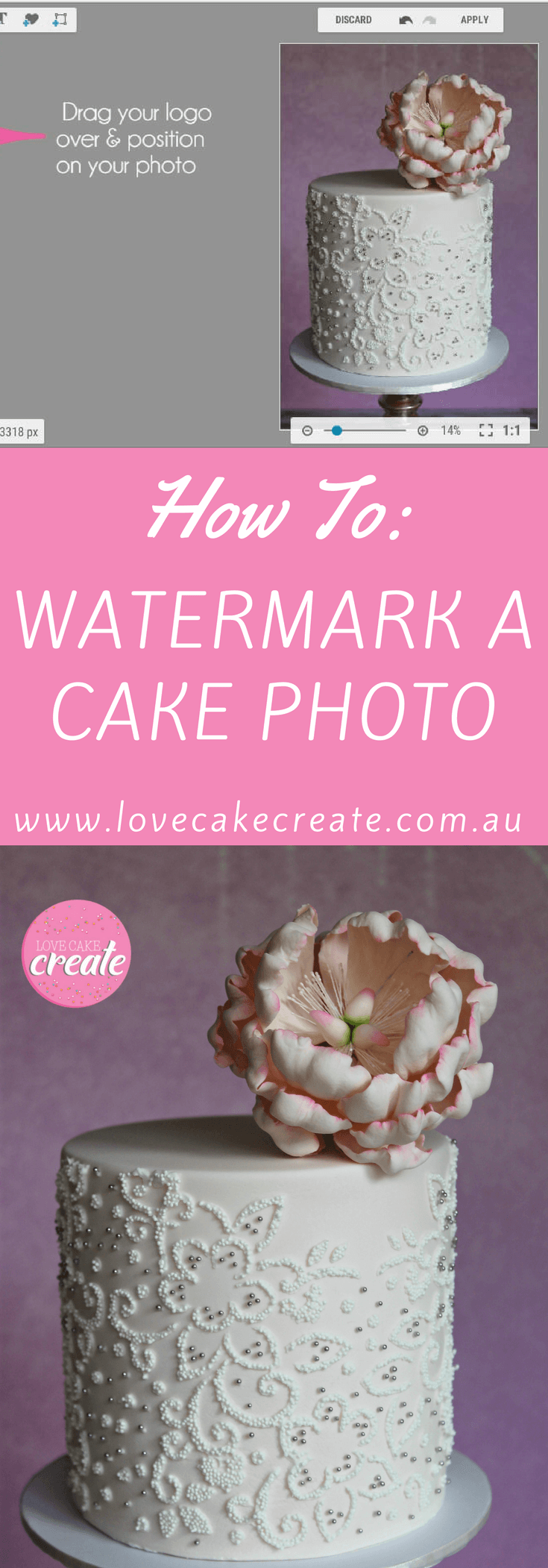 How to watermark your cake photo - by Love Cake Create