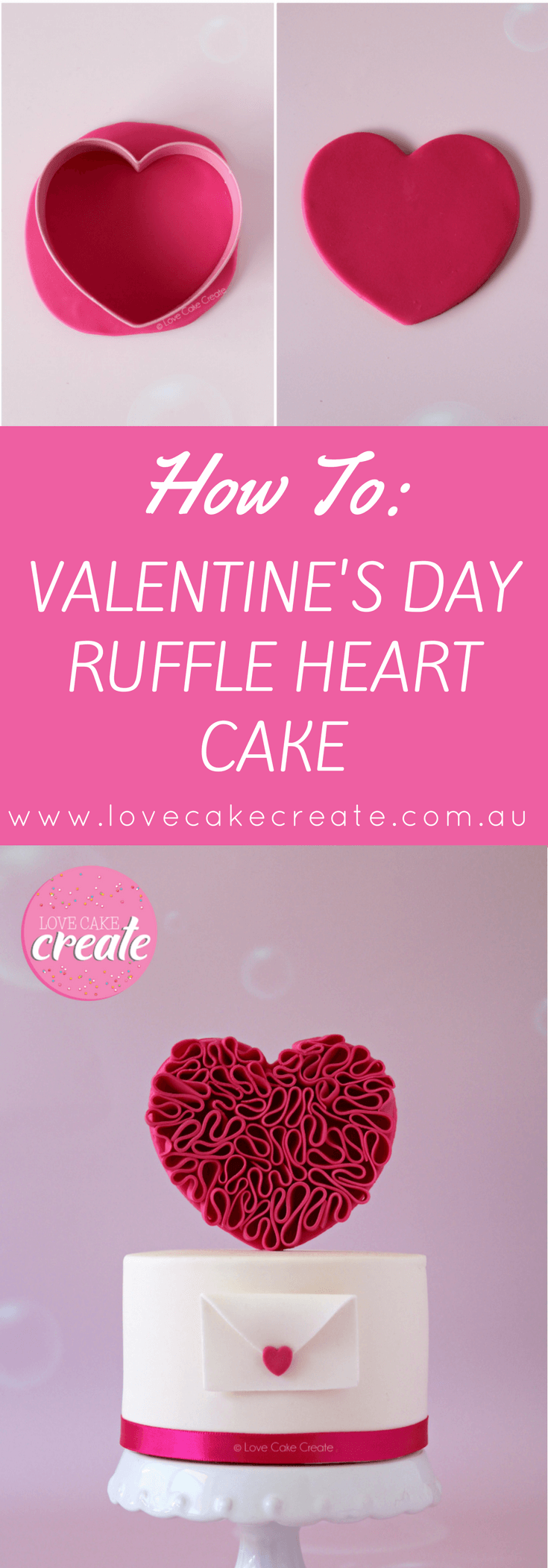 Valentine's Day Ruffle Heart Cake Tutorial - by Love Cake Create