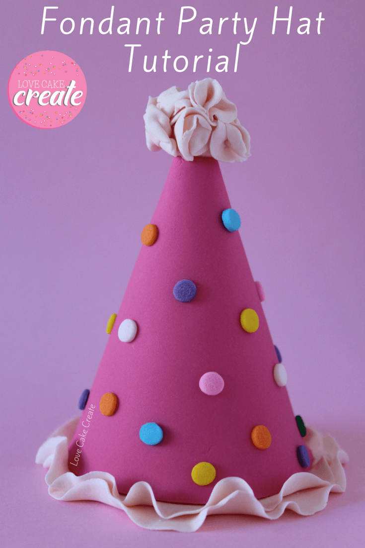 How to make a Party Unicorn Cake, including this fondant party hat! Step by step tutorial by Love Cake Create